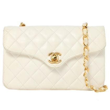 chanel-design-flap-turn-lock-mini-chain-bag-white