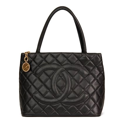 black-quilted-caviar-leather-medallion-tote