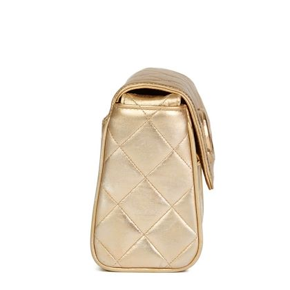 gold-quilted-metallic-lambskin-vintage-leather-logo-shoulder-flap-bag