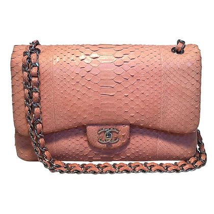 chanel-peach-pink-python-jumbo-255-double-flap-classic-shoulder-bag