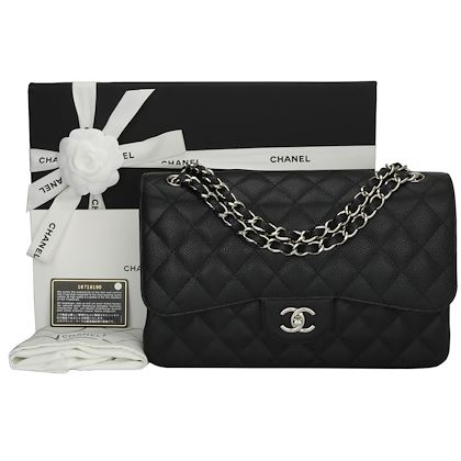 chanel-double-flap-jumbo-black-caviar-silver-hardware-2012-2