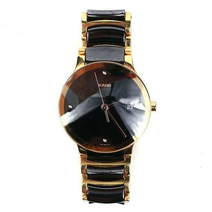 rado-centrix-automatic-watch-gold-black-ceramic-stainless-steel-pre-owned-used