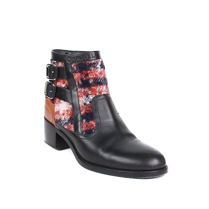 chanel-2017-boots-multicolor-tweed-plaid-black-leather-straps-395-us-9-pre-owned