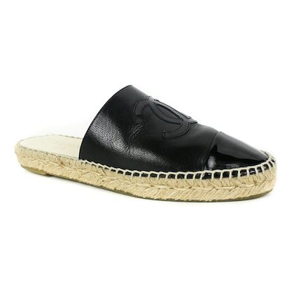 chanel-2018-espadrille-cc-slides-sandals-black-leather-38-us-8-new