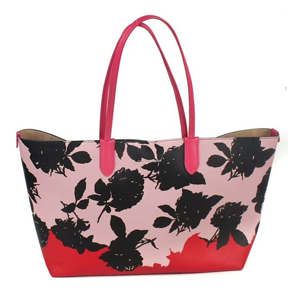 dc7510eb75f Alexander Mcqueen Large Floral Pink Leather Tote Shopper Bag Red ...