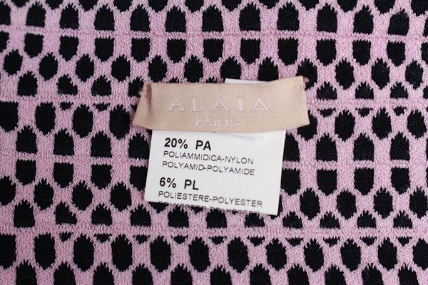 alaia-2-piece-skirt-set-pink-black-print-zip-up-fr-40-38-us-6-8-pre-owned-used