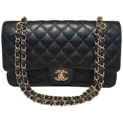 chanel-black-caviar-medium-10inch-255-double-flap-classic-shoulder-bag