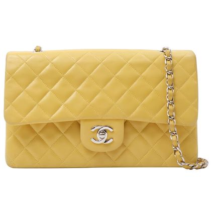 chanel-classic-flap-chain-bag-25-cm-yellow-silver