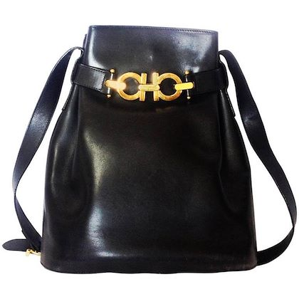 vintage-salvatore-ferragamo-dark-navy-leather-hobo-style-shoulder-bag-with-gancini-gold-tone-closure-masterpiece-for-daily-use