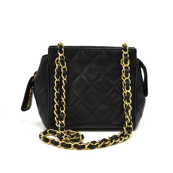 caaf9c55a937 Vintage Chanel Mini Black Quilted Lambskin Leather Chain Shoulder Bag