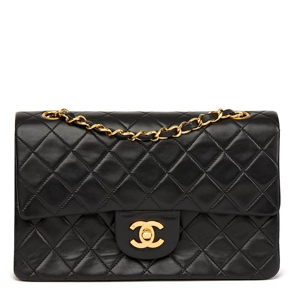 46c0d720a2a623 Black Quilted Lambskin Vintage Small Classic Double Flap Bag