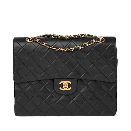 Black Quilted Lambskin Vintage Medium Tall Classic Double Flap Bag