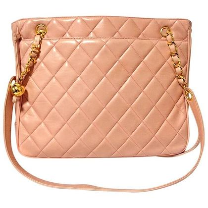 vintage-chanel-milky-pink-lambskin-shoulder-tote-bag-with-gold-tone-chain-straps-and-cc-ball-charm-classic-purse