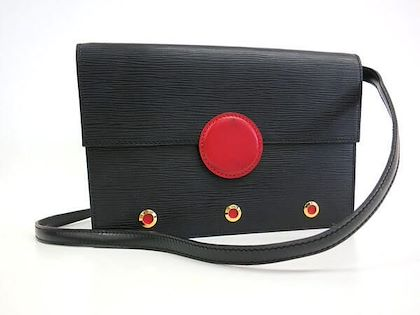 vintage-louis-vuitton-black-epi-mod-clutch-purse-shoulder-bag-with-a-red-eye-bull-design-closure-rare-masterpiece