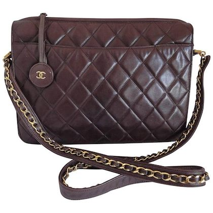 80s-vintage-chanel-dark-brown-quilted-lambskin-shoulder-bag-with-cc-motif-and-built-in-chain-shoulder-strap-rare-chanel-purse