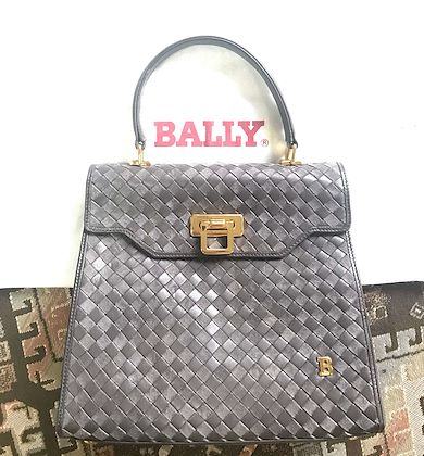 vintage-bally-taupe-gray-intrecciato-leather-handbag-with-gold-tone-closure-in-classic-kelly-style-golden-b-logo-masterpiece-bag