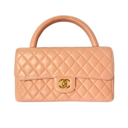 vintage-chanel-milky-pink-color-lambskin-classic-255-handbag-purse-with-golden-cc-rare-color-classic-bag