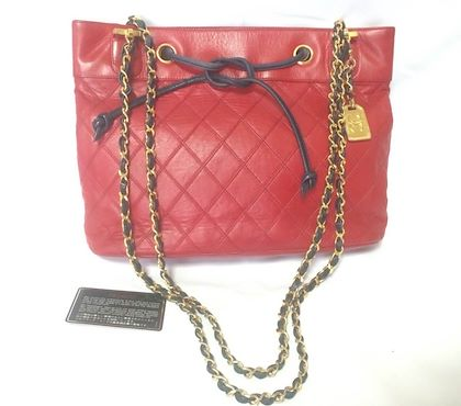 vintage-chanel-classic-tote-bag-in-red-leather-with-gold-tone-chain-and-navy-blue-leather-straps-and-logo-cc-charm