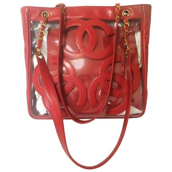 a7e4da9801ccc6 Vintage CHANEL clear vinyl and red leather combination shoulder ...