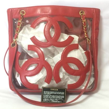 vintage-chanel-clear-vinyl-and-red-leather-combination-shoulder-purse-tote-with-cc-marks-and-matching-pouch-golden-chain