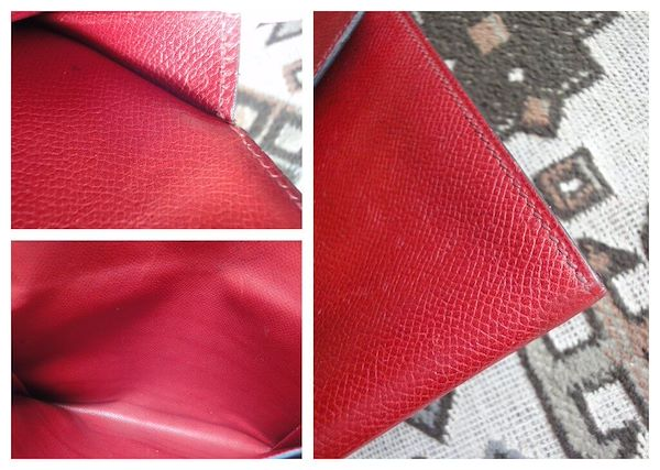 edd09c0c5975 Vintage HERMES brick red leather clutch purse with gold tone logo ...