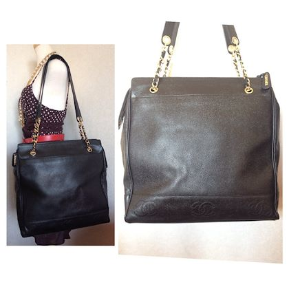 vintage-chanel-black-caviarskin-chain-large-tote-bag-shoulder-purse-with-cc-stitch-marks-classic-and-daily-use-bag
