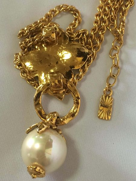 mint-vintage-yves-saint-laurent-golden-chain-long-statement-necklace-with-extra-large-faux-pearl-and-flower-petal-pendant-top-opal-shine