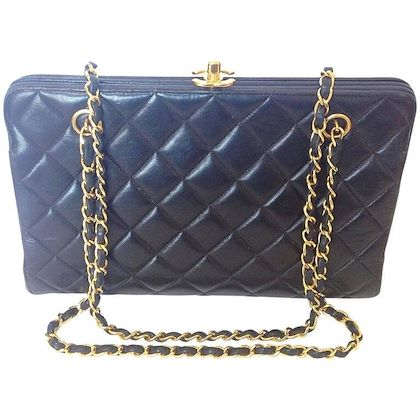 vintage-chanel-black-lambskin-golden-chain-shoulder-bag-with-golden-cc-kiss-lock-closure-rare-medium-clutch-type-255-but-classic-purse