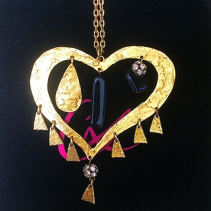 vintage-christian-lacroix-golden-outlined-large-heart-pendant-top-necklace-with-dangling-charms-and-crystal-stones-perfect-gift-jewelry
