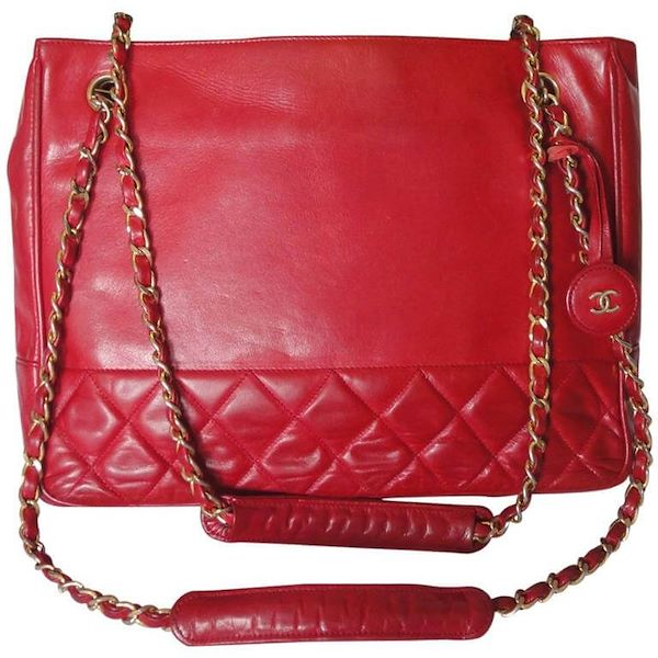 abf721d365 Vintage CHANEL red calfskin classic shoulder tote bag with gold tone ...