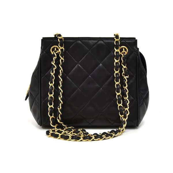 4647dffee5c Vintage Chanel Mini Black Quilted Lambskin Leather Chain Shoulder ...