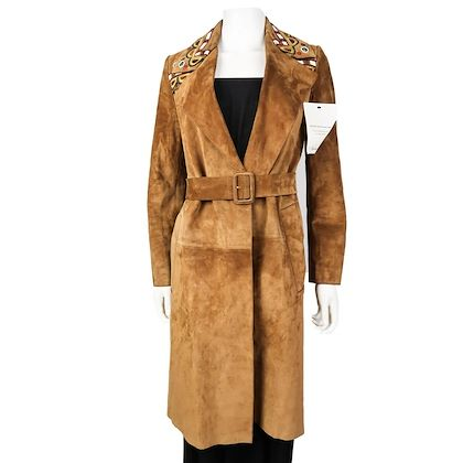 burberry-prorsum-embroidered-suede-trenchcoat-brown-belt-36-us-2-pre-owned-used