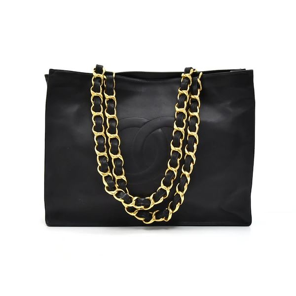 cf2ee69e0fbdb5 Vintage Chanel Jumbo Black Lambskin Leather Shoulder Shopping Tote Bag