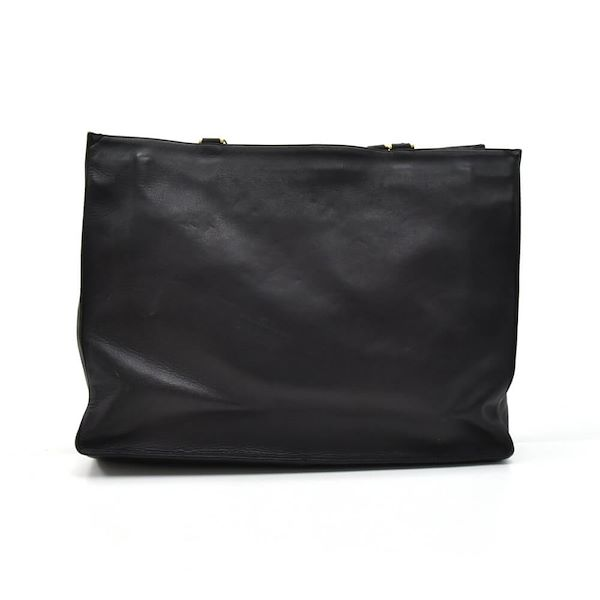 0f7111a416d4 Vintage Chanel Jumbo Black Lambskin Leather Shoulder Shopping Tote Bag