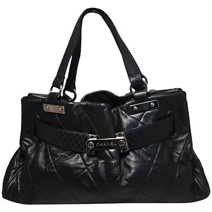 chanel-quilted-black-leather-latch-front-tote-bag
