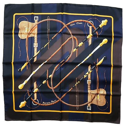 hermes-clic-clac-silk-scarf-blue-brown-90-cm-pre-owned