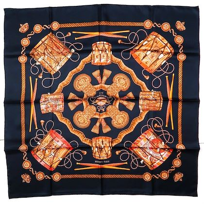 hermes-black-les-tambours-red-drum-scarf-90-cm-pre-owned-used