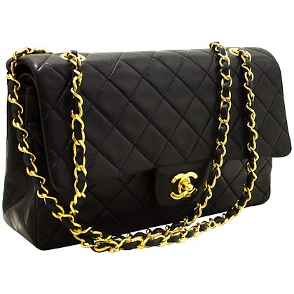 chanel-255-double-chain-flap-shoulder-bag-black-quilted-lambskin-3