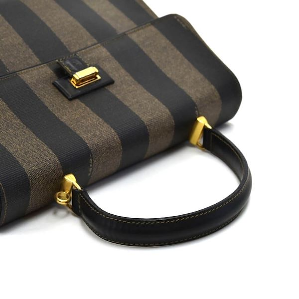 vintage-fendi-pequin-striped-black-coated-canvas-kelly-style-handbag
