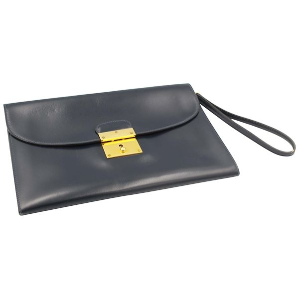 967124b8e977 Vintage Men s Hermes Clutch in Box Navy Leather