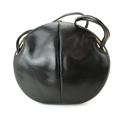 1980s-vintage-bally-cute-duck-design-black-leather-and-pink-ostrich-leather-combi-round-shoulder-bag-clutch-purse-made-in-west-germany