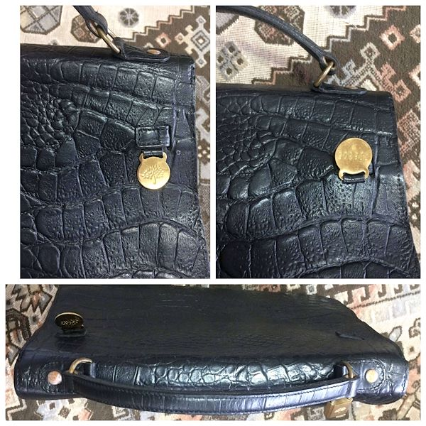 4ec55e01005 Vintage Mulberry croc embossed black leather Kelly bag. Classic ...
