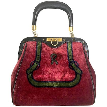 80s-vintage-roberta-di-camerino-red-and-green-navy-bow-and-logo-weaved-chenille-handbag-with-black-leather-handle-treasury-bag