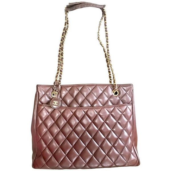 c2b25bfa798 Vintage CHANEL brown quilted lamb leather classic tote bag with gold ...