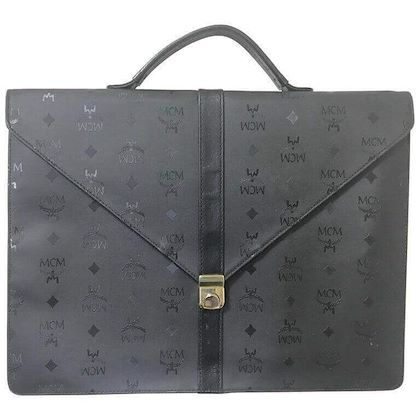 vintage-mcm-black-monogram-briefcase-business-bag-document-purse-with-leather-handle-great-masterpiece-by-michael-cromer