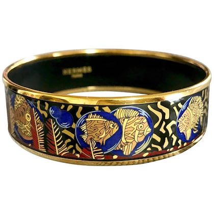 vintage-hermes-cloisonne-enamel-yellow-and-gold-fish-in-blue-black-red-bangle-bracelet-classic-hermes-jewelry
