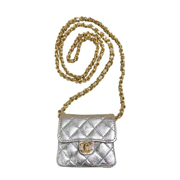 4e663b78aed079 Vintage Chanel Champagne gold lamb leather mini 2.55 bag with long ...