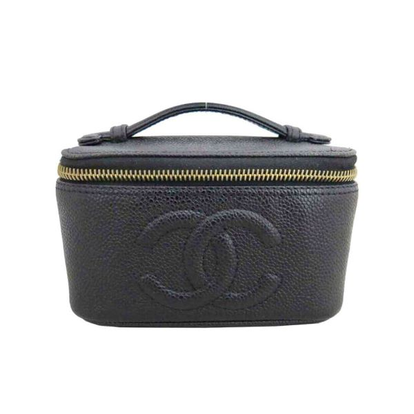 40e485ad2d0e Vintage CHANEL black caviar leather cosmetic and toiletry pouch ...