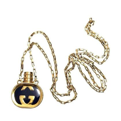 80s-vintage-gucci-golden-chain-long-necklace-with-navy-motif-perfume-bottle-rare-gucci-vintage-jewelry-perfect-gift