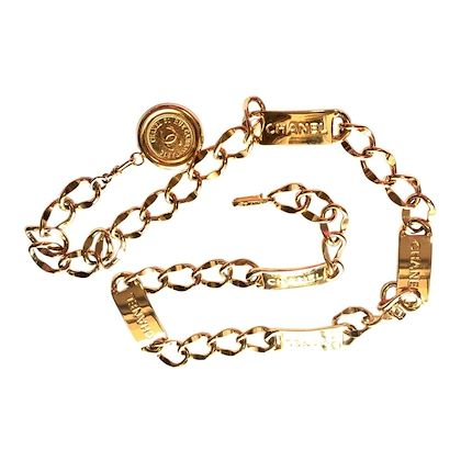 mint-80s-vintage-chanel-golden-thick-chain-belt-with-logo-engraved-bar-motifs-and-a-round-charm-to-the-end-must-have-accessory-piece